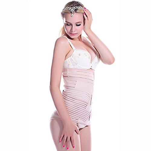 Best Value® 3in 1invisibile Cesareo Recupero pancia dopo il parto pancia dimagrante Shapewear fascia a righe cintura Nude Medium Size