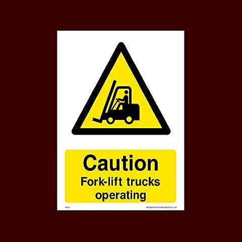 Caution Fork-lift trucks operating Plastic Sign (WG54) - Men Working,