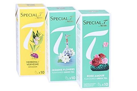Special.T - Fleurs doux mélange - tisane et vert (3 variétés de 10 capsules)