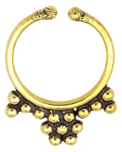Chic-Net Septum Fake Piercing Nasenringe Blume Spitzen Messing goldfarben antik exotisch