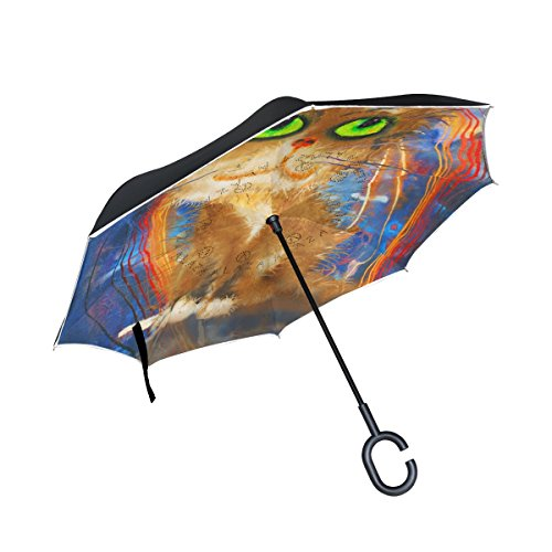 My Daily Double Layer seitenverkehrt Regenschirm Cars Regenschirm Cat und Reflexion Halloween winddicht UV Proof Reisen Outdoor Regenschirm