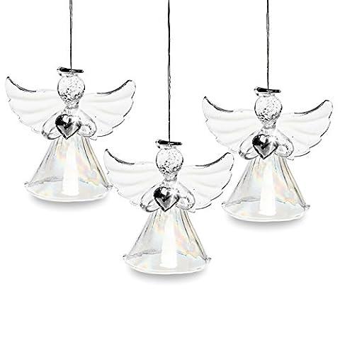 SIKORA BS241 Décorations de noël en verre soufflé - Anges avec robe irisée - Set de 3
