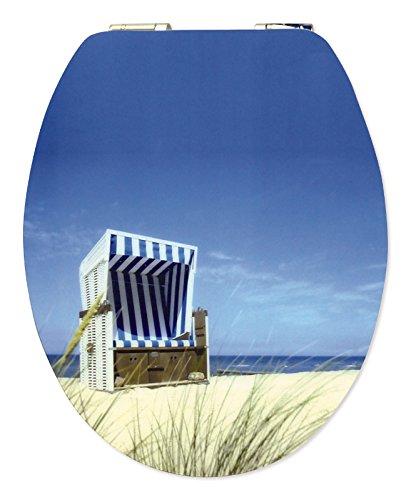WC-Sitz High Gloss Dekor Strandkorb | Toilettensitz | WC-Brille aus Holz | Soft-Close-Absenkautomatik | Metall-Scharnier   Fast-Fix-Schnellbefestigung