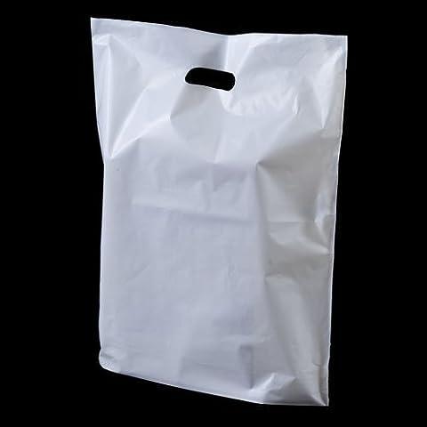50x Blanc Solide Poignée 'Patch' Fashion en plastique Sacs–55,9x 45,7x 7,6cm (Grand) Unipack marque–unibags