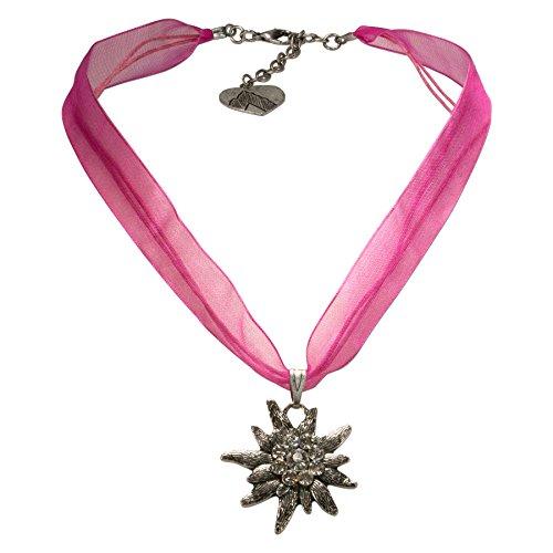 Alpenflüstern Organza-Trachtenkette Strass-Edelweiß - Damen-Trachtenschmuck Dirndlkette pink-fuchsia DHK079