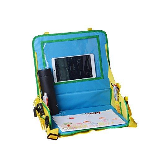 Organizzatore di backseat per bambini, multifunzione Vassoio di viaggio per sedili per bicchieri per snack, fibbie forti, tasche in maglia