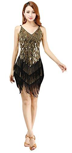 BELLYQUEEN Abito con Frange Costume da Danza Latino Donna senza Maniche Gatsby 1920s Festa Vestito Zumba Rumba Chacha Tango Danza Oro