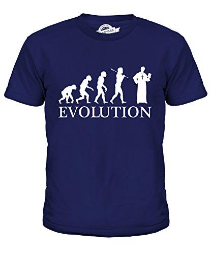 er Evolution Des Menschen Unisex Jungen Mädchen T Shirt, Größe 8 Jahre, Farbe Navy Blau (Priester Kostüm Junge)
