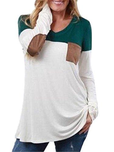 Aoliait Femmes Basique Couleur D'Épissage T-Shirt University Poche Soft Chemisiers Manches Longues Col V Cotton Tops Mode Décontractée Blouses green