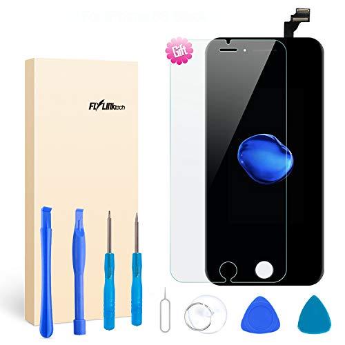 Flylinktech Ersatz-Display schwarz für iPhone 3D Touch LCD Screen Ersatz-Digitizer Rahmen Display Montage-Set mit Repair Tool Kit, iPhone 6S Black (Tool Kit Black)