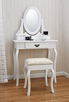 Positano DR001 White Dressing Table Stool with Mirror Set 3 Drawers Bedroom Dresser - inexpensive UK dressing table store.