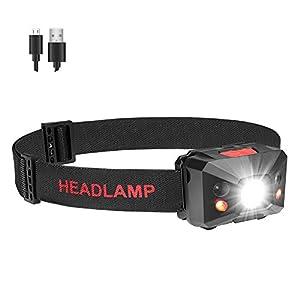 Coquimbo LED Linterna Frontal USB recargable 5 Modos Lampára de cabeza Luz Super Brillante 360 Grados Ajustables para Camping, Pesca, Ciclismo, Correr, Deporte nocturno
