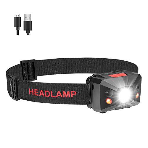 Coquimbo LED Linterna Frontal USB recargable 5 Modos Lampara de cabeza Luz Super Brillante 360 Grados Ajustables para Camping, Pesca, Ciclismo, Correr, Deporte nocturno