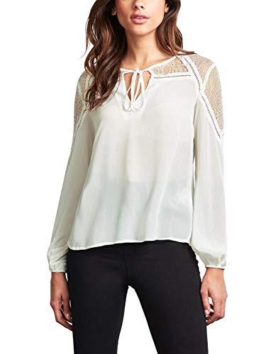 Blooming Jelly Frauen Lace Top Cut Out Semi Sheer Chiffon Bluse für Damen ausgehen weiß,XL