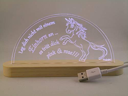 LED Bogen Schwibbogen Leuchterbogen Einhorn mit Spruch USB Motivlampe Motivleuchte