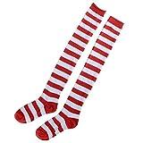 BESTOYARD Medias de rayas rojas y blancas de Navidad sobre calcetines hasta la rodilla para mujeres niñas Tamaño libre
