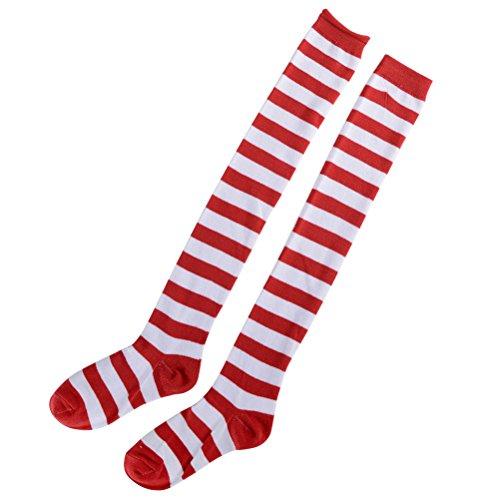 (BESTOYARD 1 Paar Streifen Kniestrümpfe Overknees Strümpfe Rote und Weiße Strumpfhosen Weihnachten Kostüm Cosplay Socken für Frauen Mädchen)