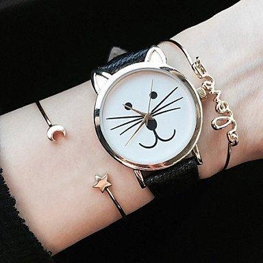 fenkoo Kitty passen Mujeres Relojes gato reloj de pulsera reloj de piel de reloj de vino de lectura Reloj joyas accesorios negro