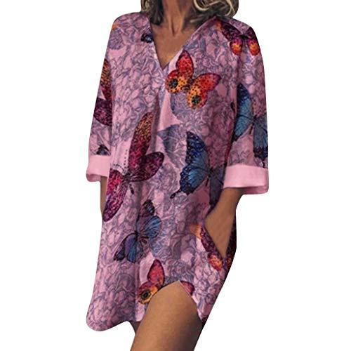 RYTEJFES Hemdkleid Damen Langarm Strandkleider Sexy V-Ausschnitt Shirtkleid Casual Lose A-Linie Böhmischer Print Sommerkleider mit Taschen Blusenkleider