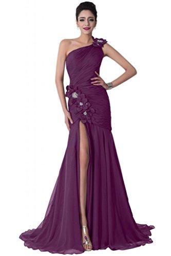Sunvary Chiffon-Applique a fessura frontale, spalle o da sera Gowns Grape