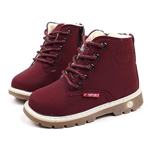 Baby Knöchelhohe Stiefel Mädchen Jungen Mingfa Fasion Winter Schnee Schuhe für 1-6-jährige Kleinkinder Kinder, Weiche Schnürschuhe Martin Sneaker Boots Age:2-2.5T wein