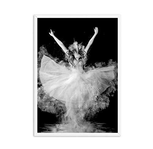 Schwarz und Weiß Elegante Ballett Tanz Poster Drucke Foto Nordischen Stil Mädchen Porträt Wandkunst Bilder Wohnkultur Leinwand Malerei 50x70 cm x 1 / kein Rahmen
