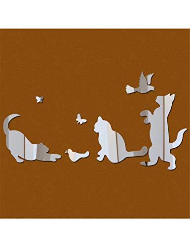 ZLJBB Acrylspiegel 3D Wandaufkleber Abnehmbare Tiere Katzen Vögel Aufkleber DIY Cartoon Dekoration Wohnkultur
