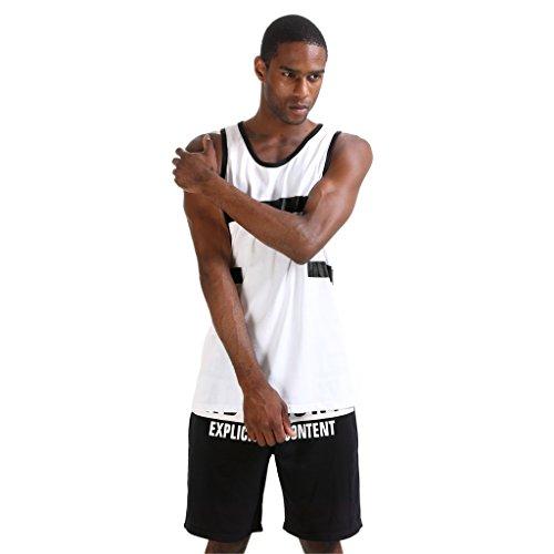 Pizoff Herren Hip Hop High Street Fashion Lang geschnittenes Trägershirt P3253-White