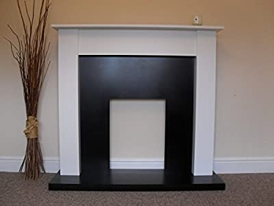 """White Surround Black Granite Stone Marble Modern Wall Gas or Electric Fire Fireplace Suite 48"""""""