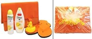 Handverpacktes Präsent Sunshine Lady mit Dove Deo und Duschgel sowie Strandmatte und Flip Flops