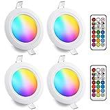 Faretti LED da Incasso 5W (equivalenti a 40W), Colorate RGBW RGB 2700K Sfera Luce Bianca Calda Dimerabile IP44 Cambiare Colore Multicolore con Telecomando Interni per cartongesso (Pacco da 4)