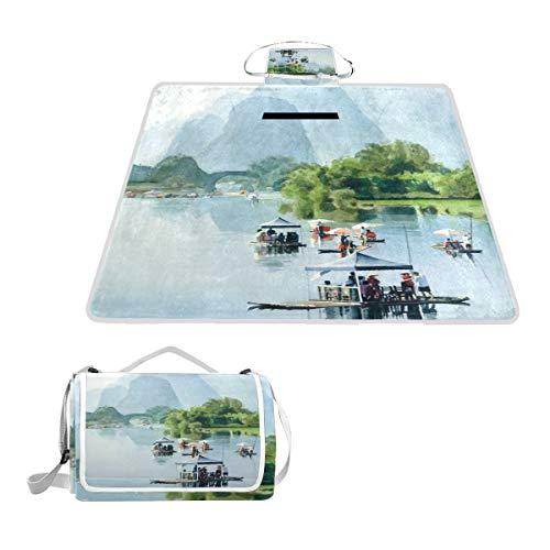 Sotyi-ltd Picknick-Matte aus Bambus, für Shangri, Aquarell, ideal für den Strand, Wandern, Camping, Park Gras, groß, 144,8 x 149,9 cm