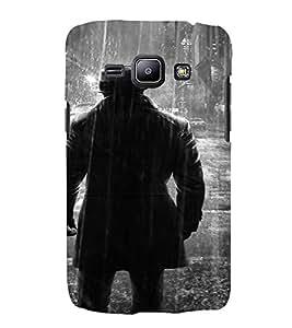 PrintVisa Man Rain BW Design 3D Hard Polycarbonate Designer Back Case Cover for Samsung Galaxy J1 (2016 Edition)