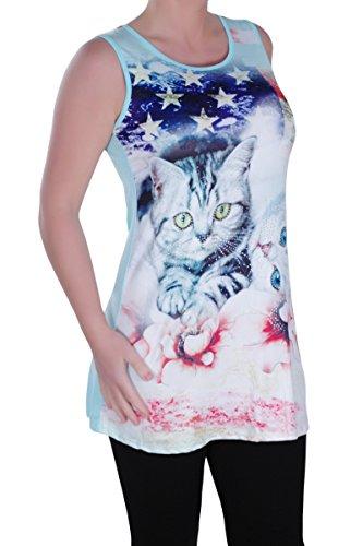 Eyecatch - Kitty Aux Femmes Asymétrique Camisole Dames Amérique Chaton Floral Longue Gilet Tops Menthe