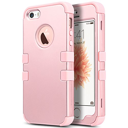 Gürtel Case Iphone Clip 5s Leder (iPhone 5s SE Hülle, ULAK iPhone 5S Case 3 Layer Hybrid Combo Innere Weiche Silikon Hart Plastik Anti-stoß Schutzhülle Tasche Case Cover für Apple iPhone 5/5S/SE (Rosé Gold))