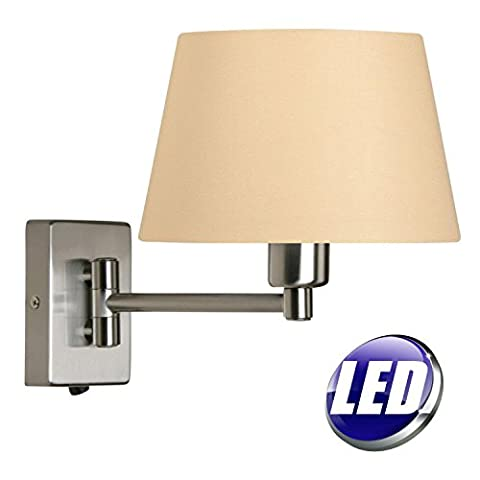 OAKS LED ANTIQUE CHROME ADJUSTABLE SINGLE SWING ARM SWITCHED WALL LIGHT WITH BEIGE 8