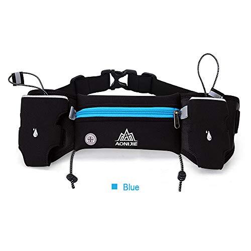 AONIJIE - Cinturón Reflectante de hidratación para Correr, Senderismo, riñonera Ajustable, para Hombre o Mujer, con 2 Botellas de Agua de 250 ML, Azul