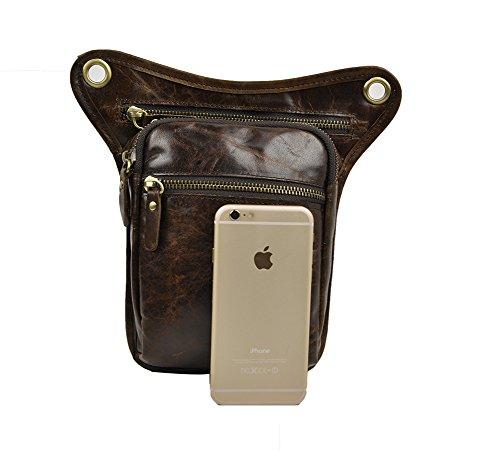 Genda 2Archer Utility Cross Over Tasche Leder Taille Bein Tasche (Braun 5) Kaffee Braun