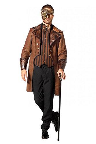 Brauner Steampunk Herren Mantel mit Schlangenmuster und gestreifte Weste Kostüm Jacke viktorianisch hochwertig, Größe:48
