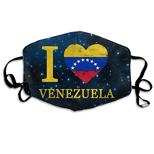 Masken, Masken für Erwachsene, Mask Anti Dust, I Love Heart Venezuela Flag Distressed Face Mouth Mask Respirator Comfy Reuseable Dustproof Mouth Cover Warm Windproof Face Protective Guaze ()