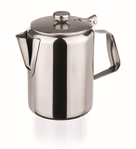 Edelstahl Kaffeekanne 1000ml mit Scharnierdeckel hochglanzpoliert Chromnickelstahl klein Milchkanne Deckel