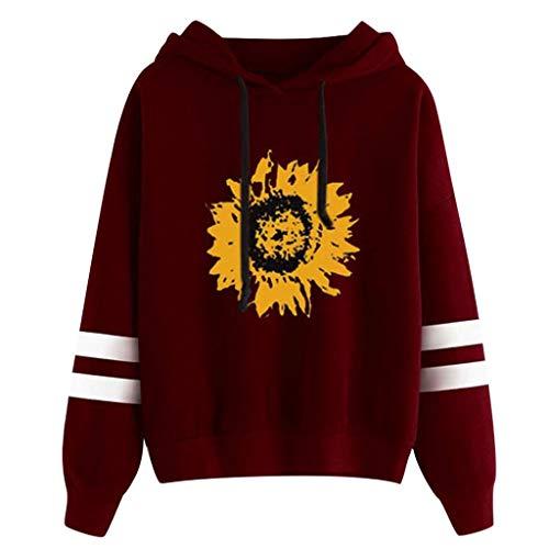 Damen T-Shirt Lässige Bluse Tops Oberteile,2019 Frauen Sunflower Print Langarm Hoodie Sweater Top Langarm-Sweatshirt mit Kapuze Tops Bluse S-XXL -