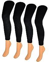 1 bis 4 Damen THERMO Leggings Schwarz mit Muster & Innenfleece Innenfutter Thermoleggins - 89760 - sockenkauf24