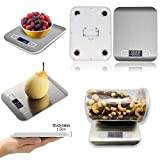 WSS - Silber Digital Essen Waage, (5000g,0.1oz/1G) Küchenwaage, elektrisch Good Cooking Waage mit LCD-Display, Edelstahl, genau Gramm und Slim Design