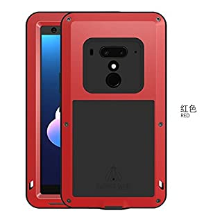 Original Love MEI, HS-Top,Aluminium Leistungsstarke stoßfest Staubschutz Gorilla Glass Metal Case Schutzhülle hüllen case Handy Schutz Schale für HTC U12+ (Rot)