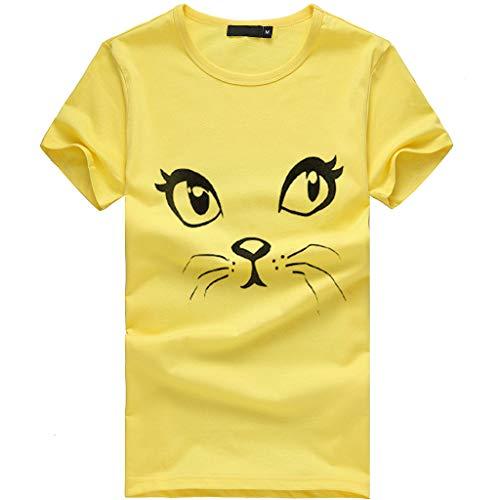 CUTUDE Damen T Shirt, Bluse Kurzarm Sommer Frauen Mädchen Plus Size Print Tees Shirt Niedlichen Lose T Shirt Bluse Weste Oberteil Top Mode 2019 (Gelb, ()
