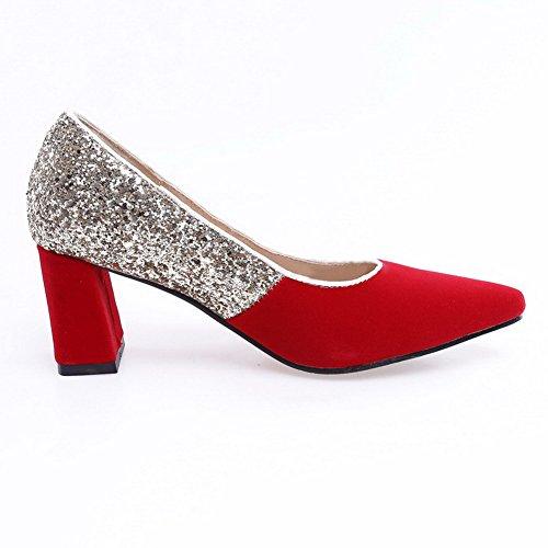 AgooLar Femme Tire Matière Mélangee à Talon Correct Couleurs Mélangées Chaussures Légeres Rouge