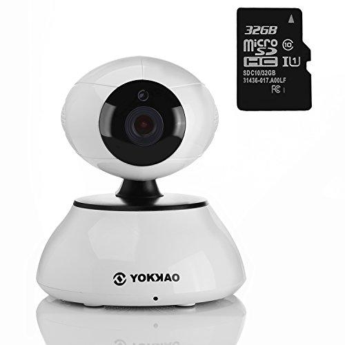 Cámara IP inalámbrica Yokkao®, Cámara de Vigilancia para bebé 720p HD 5x Zoom Digital H.264 con Sensor de movimiento y Visión Nocturna Función Walkie Talkie WIFI con Control Remoto Tarjeta Micro SD 32GB - color blanco