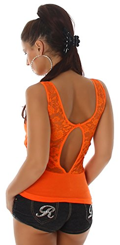 B&X Damen Top mit Stickerei & Spitze verziert Orange