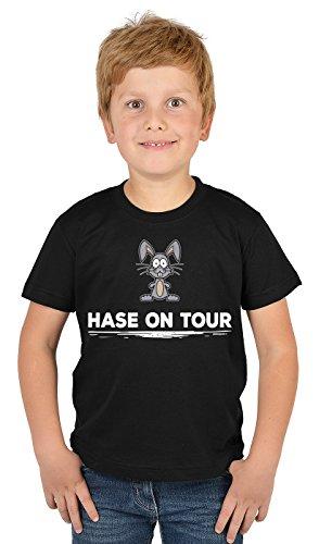 Kinder T-Shirt mit Lustigem Oster Motiv - Osterhasen Kinder-Shirt : Hase on Tour - Witziges Tshirt Fürs Osternest Jungen/Mädchen Gr: L = 146-152